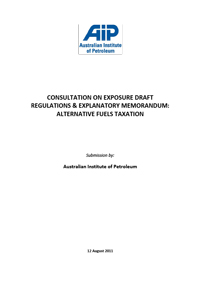 Submission to Consultation on Exposure Draft Regulations & Explanatory Memorandum Alternative Fuels Taxation