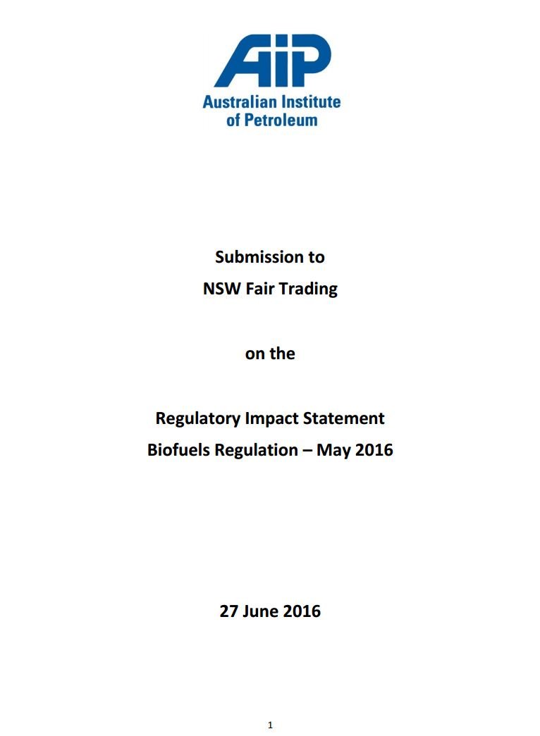 Submission on the NSW Biofuels Regulatory Impact Statement