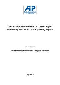 Submission to Department of Resources, Energy & Tourism - Consultation on the Public Discussion Paper