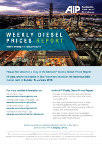 Weekly Diesel Prices Report - 14 January 2018