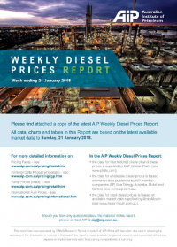 Weekly Diesel Prices Report - 21 January 2018