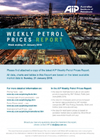 Weekly Petrol Prices Report - 21 January 2018