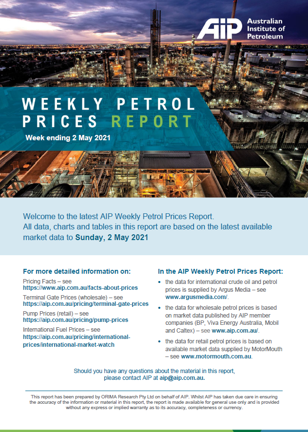 Weekly Petrol Prices Report - 2 May 2021